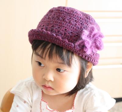 コサージュ付きベビー帽子