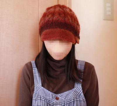 アラン編みのキャスケット